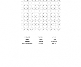 Countries Beginner Word Search
