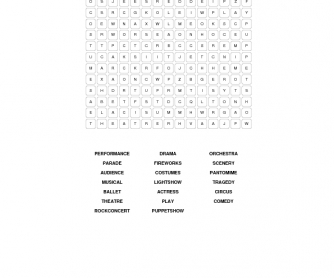 It's Showtime Wordsearch
