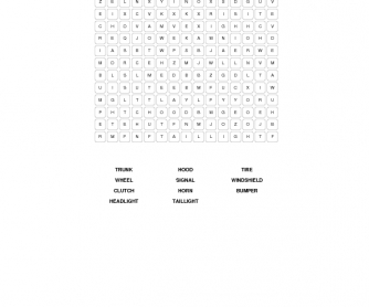 Car Parts Word Search