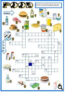 This is a picture crossword to revise food vocabulary.