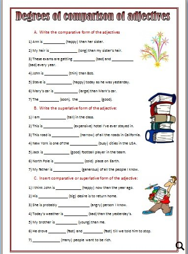 ... Comparative and Superlative Adjectives Degrees of Comparison Worksheet