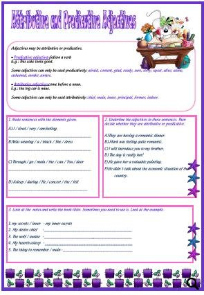 Worksheets Predicate Adjective Worksheet and predicative adjectives attributive adjectives