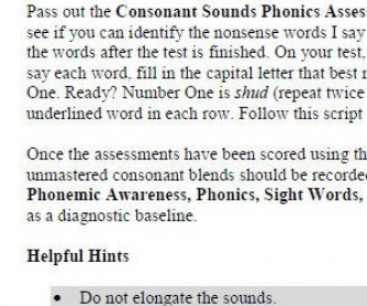 Consonant Sounds Phonics Assessment