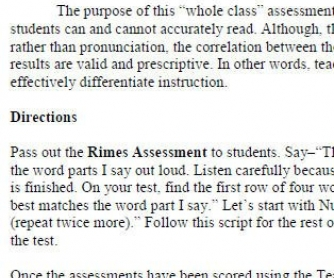 Rimes (Word Families) Assessment