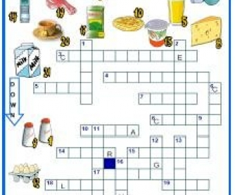 Food and Drinks Picture Crossword