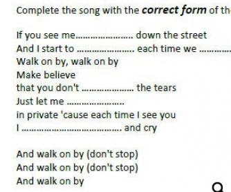 Song Worksheet: Walk On by Dionne Warwick