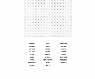 Greek and Roman Gods Word Search