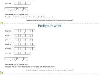 Prefixes In- & Im- Double Puzzle