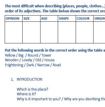 adjective order worksheet. Black Bedroom Furniture Sets. Home Design Ideas