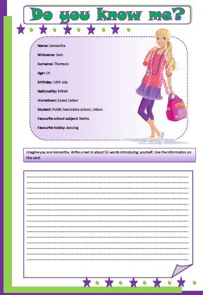Personal Identification Writing Activity