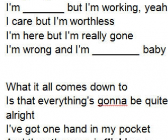 Song Worksheet: Hand in My Pocket by Alanis Morissette [WITH VIDEO]