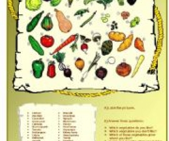 Vegetables: Lesson Worksheet