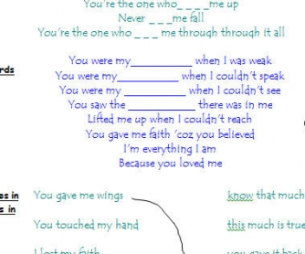 Song Worksheet: Because You Loved Me by Celine Dion [WITH VIDEO] Alternative 2