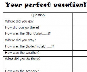 Your Perfect Vacation! Simple Past Review