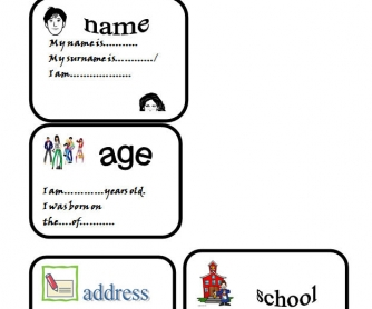 About Myself: Introduction Worksheet