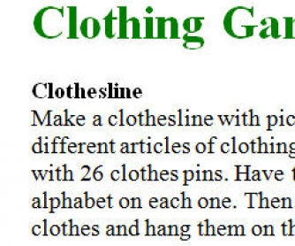 Clothing Games And Activities