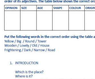 Adjective Order Worksheet