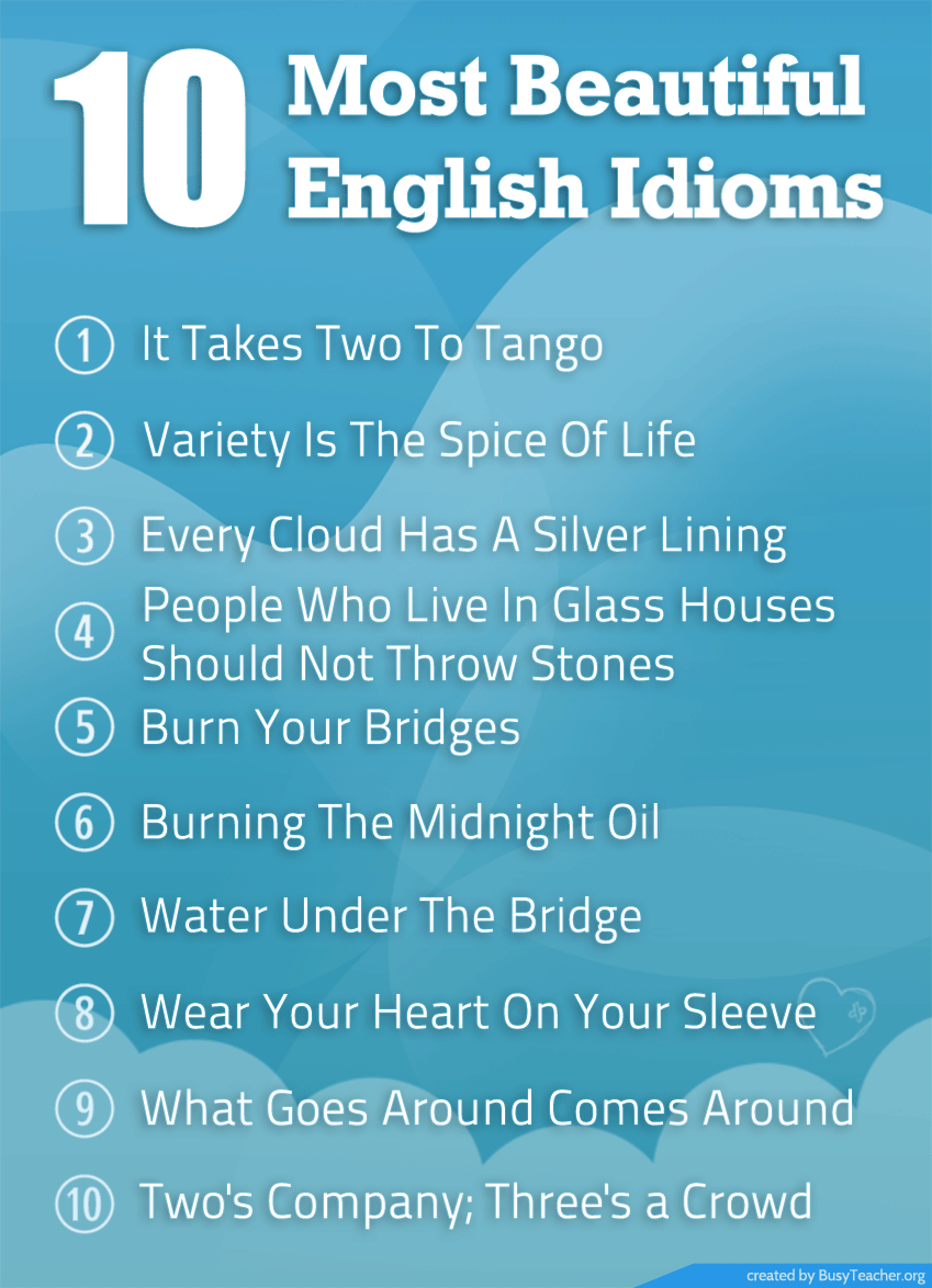 10 Most Beautiful English Idioms: Poster