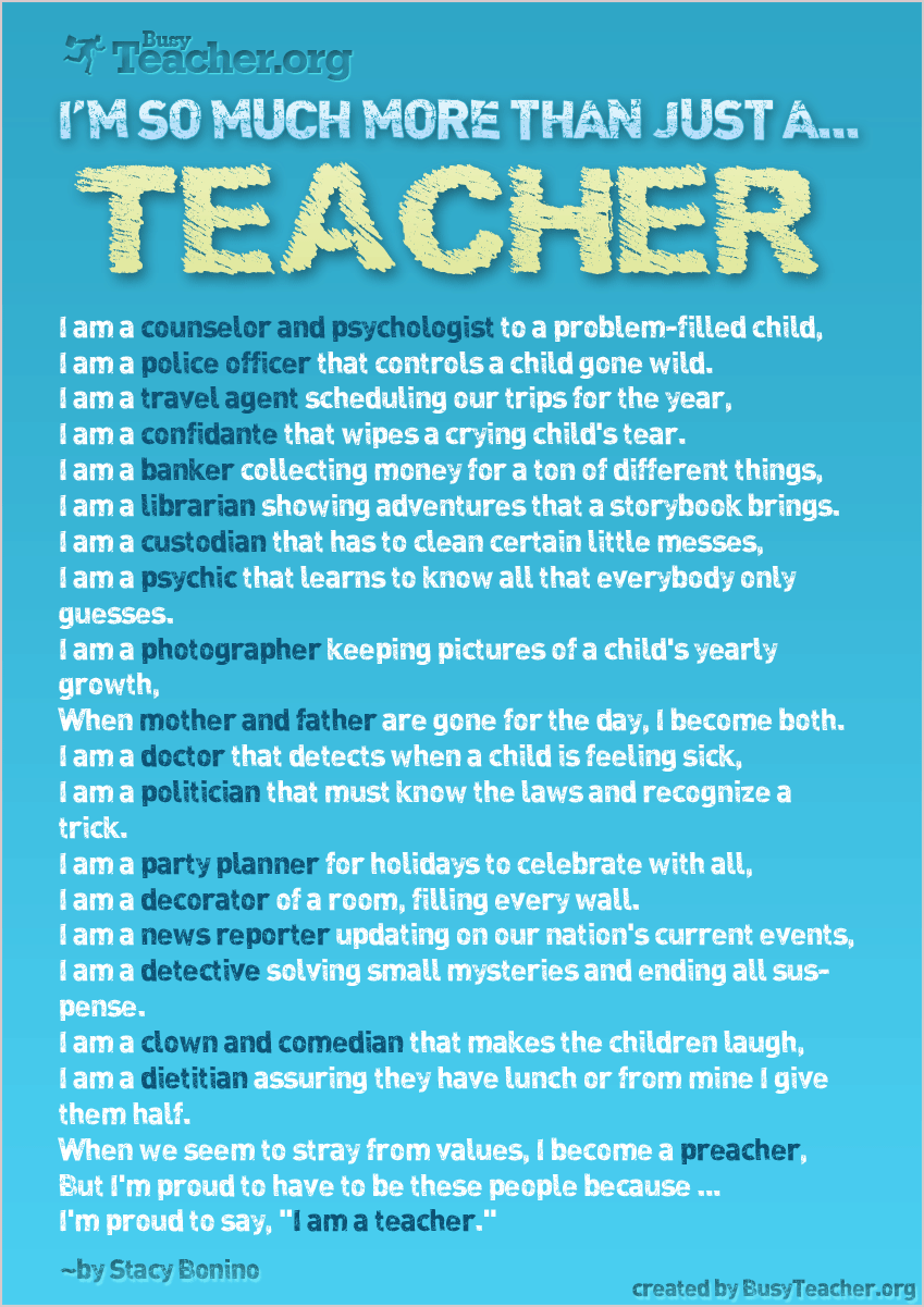 I'm So Much More Than Just A Teacher: Poster