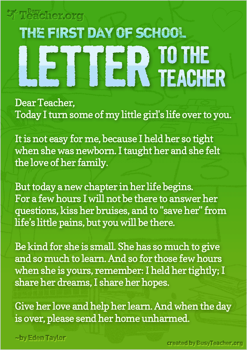 the first day of school  u2014 letter to the teacher  poster