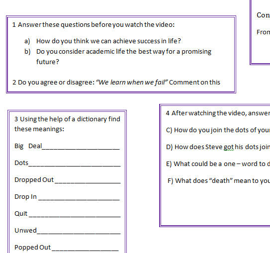 Video Worksheet: Steve Jobs: Connecting The Dots