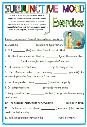 7 FREE Subjunctive Mood Worksheets