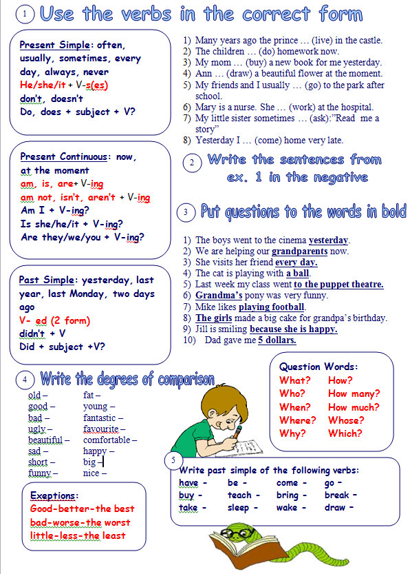 Grammar Review Exercises Mixed Tenses