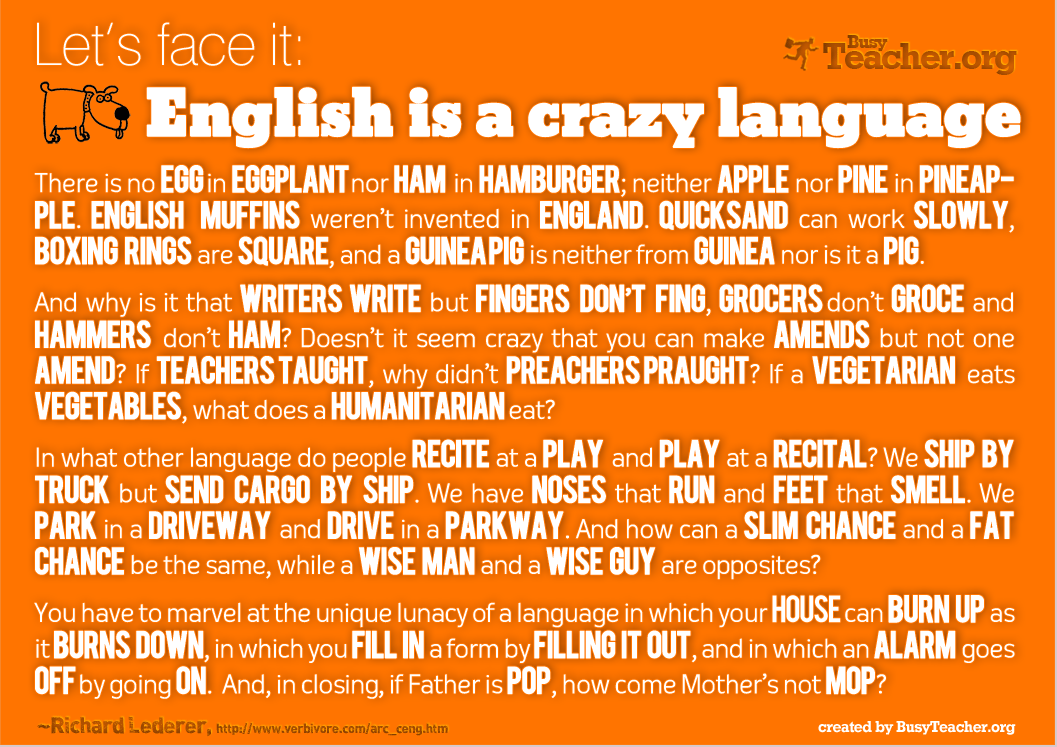 POSTER: English Is A Crazy Language
