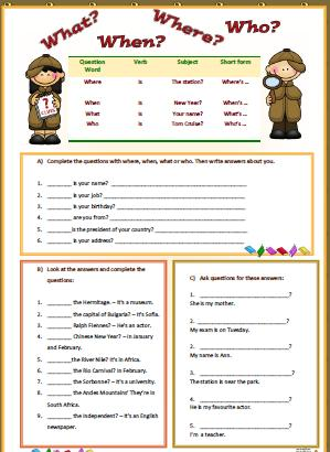 wh question words worksheet
