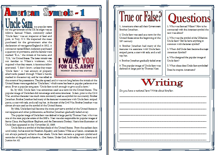 American Symbols Uncle Sam Reading Comprehension Writing