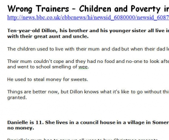 Wrong Trainers - Children and Poverty in the UK