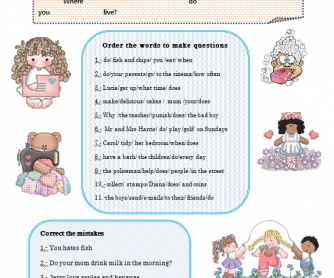 Present Simple Questions Worksheet
