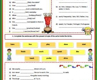 Present Simple Tense: Revision Worksheet