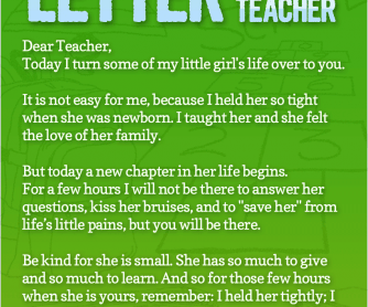 POSTER: The First Day Of School: Letter To The Teacher
