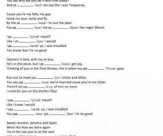 Song Worksheet: You Know I'm No Good by Amy Winehouse