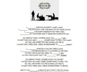 Song Worksheet: Somewhere Only We Know by Keane
