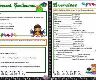 Present Continuous Tense: Elementary Worksheet