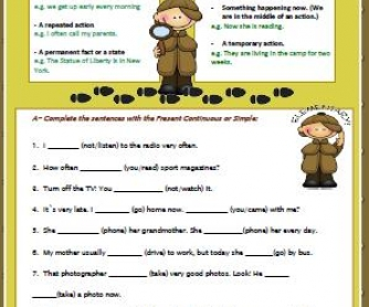 Present Simple vs Present Continuous: Elementary Worksheet