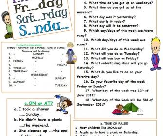 Weekdays Worksheet