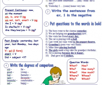 Grammar Review Exercises: Mixed Tenses