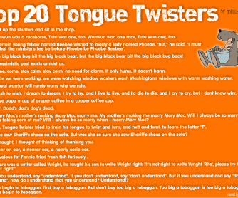 POSTER: Top 20 Tongue Twisters