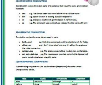 Coordinating, Correlative and Subordinating Conjunctions Worksheet