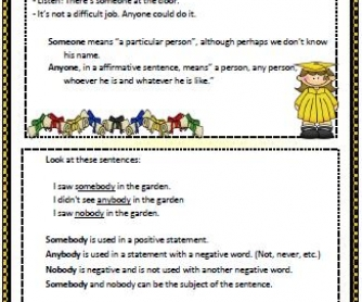 Indefinite Pronouns Elementary Worksheet