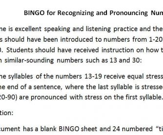 Bingo for Practice with Numbers