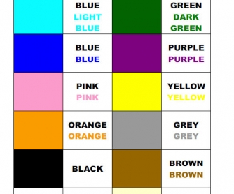 Learning Colours: Colour Chart