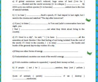 If Clauses and the Environment Worksheet