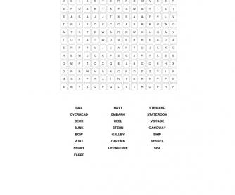 Travelling By Sea Word Search Puzzle