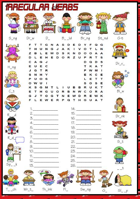 Past Simple Irregular Verbs Wordsearch Puzzle