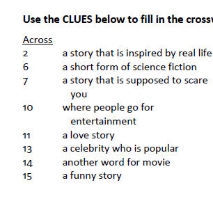 crossword puzzle about movie genres