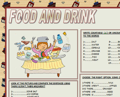Vocabulary Worksheet: Food And Drinks Food and Drinks Decoding ...